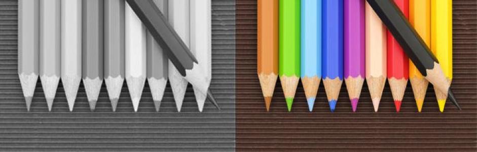 Representação de como vê uma pessoa com o tipo de daltonismo conhecido como acromatopsia
